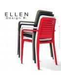 Chaise design ELLEN, structure et piétement plastique couleur empilable, pour extérieur.