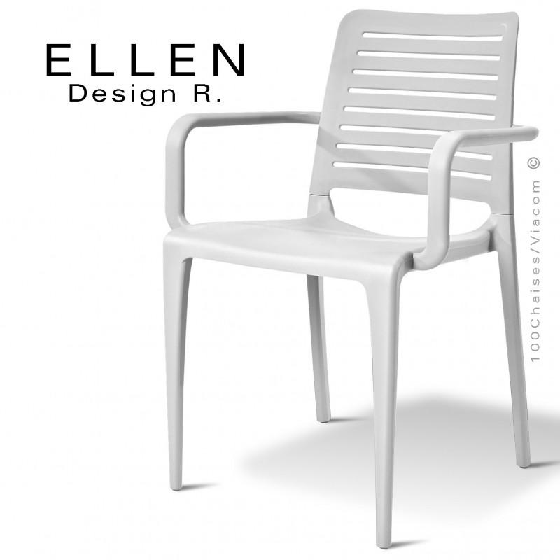 Fauteuil design ELLEN, structure et piétement plastique de couleur blanc, empilable, pour extérieur.