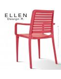 Fauteuil design ELLEN, structure et piétement plastique de couleur rouge, empilable, pour extérieur.