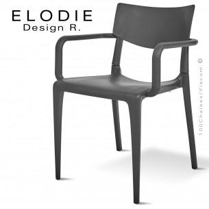 Fauteuil design ELODIE, structure et piétement plastique couleur anthracite, pour extérieur.