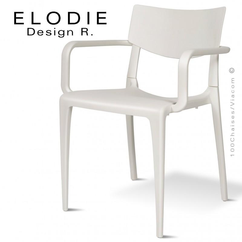 Fauteuil design ELODIE, structure et piétement plastique couleur blanc, pour extérieur.