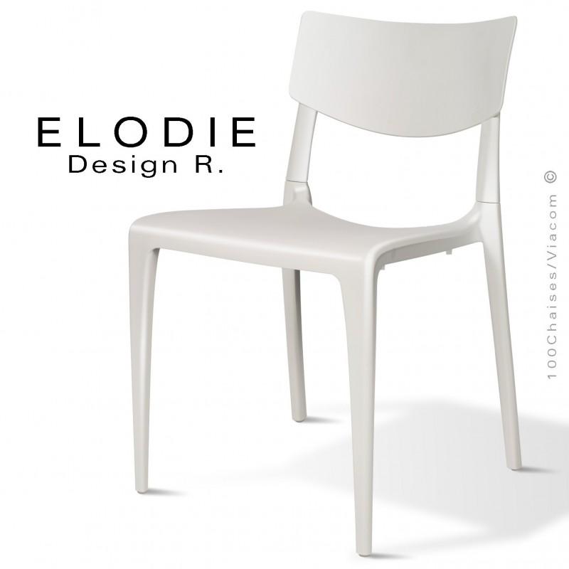 Chaise design ELODIE, structure et piétement plastique couleur blanche, pour extérieur.