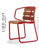 Chaise LIDO OUT, piétement luge peint rouge, assise bois teck