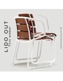 Chaise LIDO OUT, piétement luge peint, assise bois teck