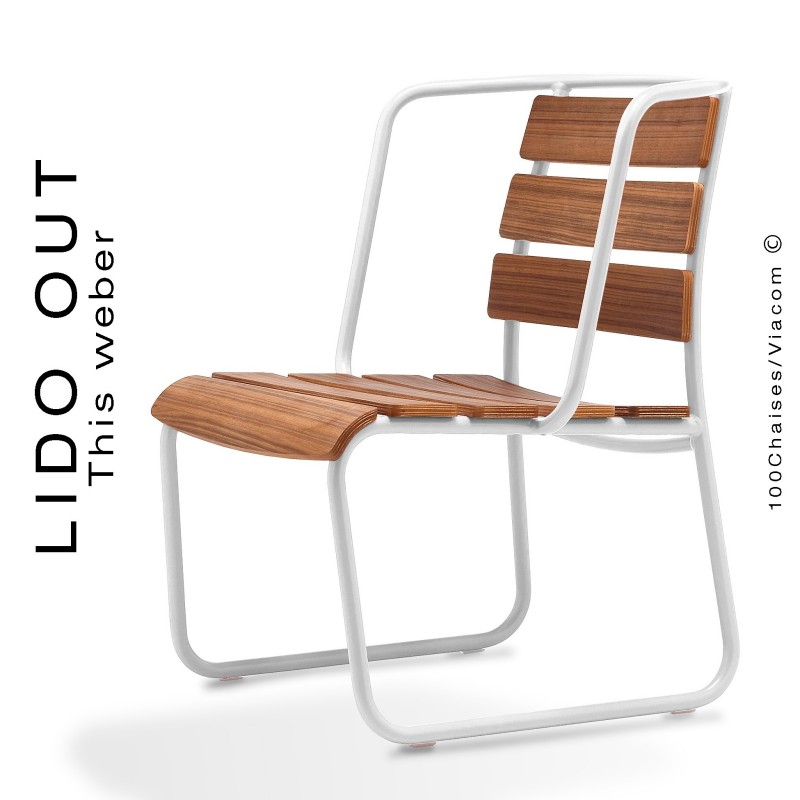 Fauteuil lounge LIDO OUT, piétement luge peint blanc, assise bois teck