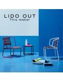 Collection LIDO OUT, piétement luge peint, assise bois teck