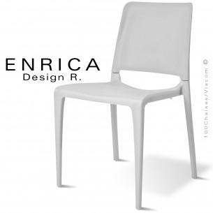 Chaise design ENRICA, structure et piétement plastique couleur blanche, pour extérieur.