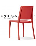 Chaise design ENRICA, structure et piétement plastique couleur rouge, pour extérieur.