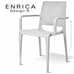 Fauteuil design ENRICA, structure et piétement plastique couleur blanche, pour extérieur.