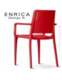 Fauteuil design ENRICA, structure et piétement plastique couleur rouge, pour extérieur.