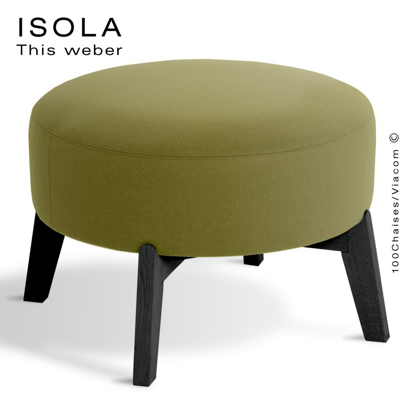 Pouf ISOLA-65, piétement bois peint noir, assise garnie habillage tissu vert