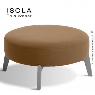 Pouf ISOLA-90, piétement bois peint gris, assise garnie habillage tissu crème