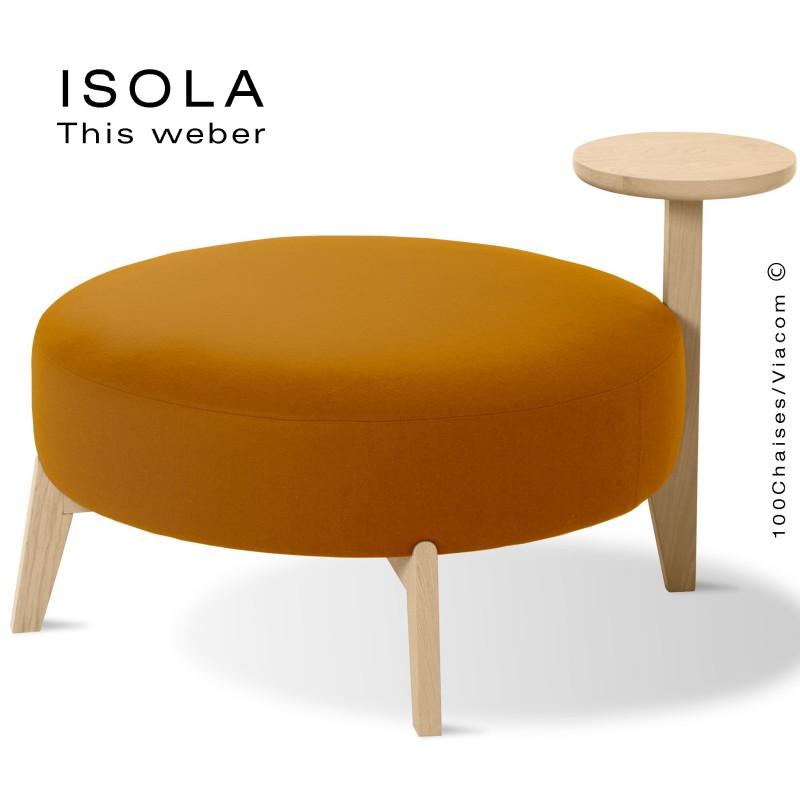 Pouf ISOLA-90/T, piétement bois teinté naturel, assise garnie habillage tissu orange