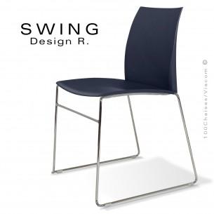Chaise SWING, piétement type luge, assise coque plastique couleur anthracite.