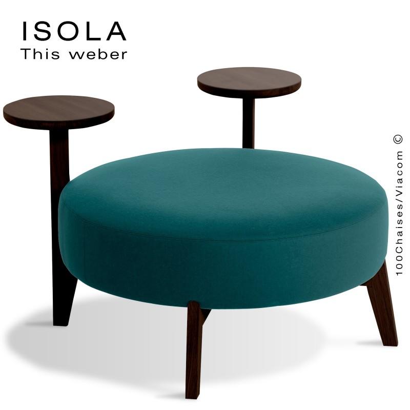 Pouf ISOLA-90/TR, piétement bois teinté wengé, assise garnie habillage tissu bleu