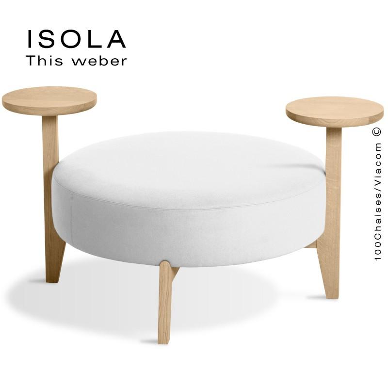 Pouf ISOLA-90/TO, piétement bois teinté naturel, assise garnie habillage tissu blanc
