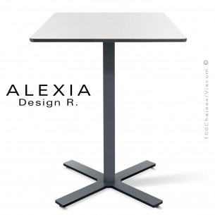 Table ALEXIA piétement colonne centrale acier peint couleur anthracite, plateau Compact 60x60 cm. couleur blanc.