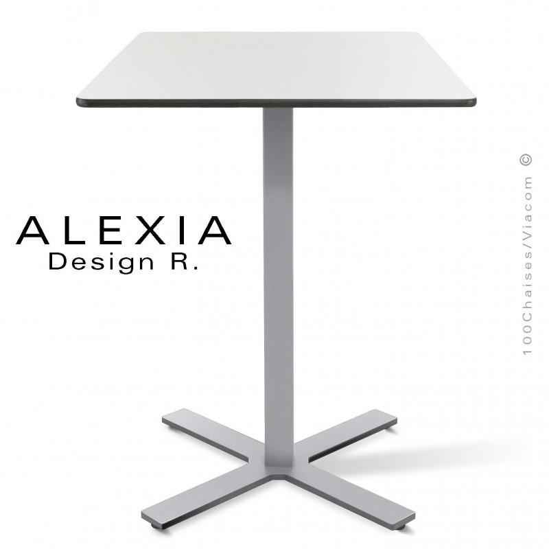 Table ALEXIA piétement colonne centrale acier peint couleur gris-argent, plateau Compact 60x60 cm. couleur blanc.