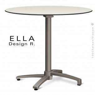Table ELLA piétement colonne centrale aluminium encastrable peint taupe, plateau Ø70 cm., rabattable compact crème.