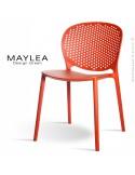 Chaise plastique MAYLEA, idéale pour les terrasses et jardins - Lot de 4 pièces couleur orange brique.