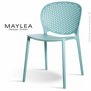 Chaise plastique MAYLEA, idéale pour les terrasses et jardins - Lot de 4 pièces couleur bleu Tiffany..