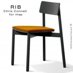 Chaise RIB 11, piétement en bois de frêne peint noir, assise garnie orange