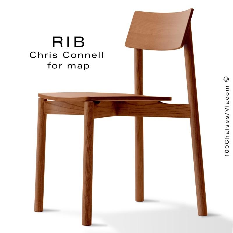 Chaise RIB, piétement en bois de frêne teinté teck