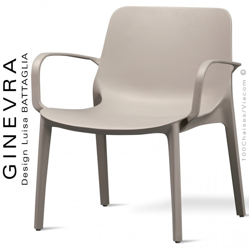 Fauteuil lounge GINEVRA, structure plastique couleur gris Tourterelle anthracite avec accoudoirs, empilable pour terrasse.