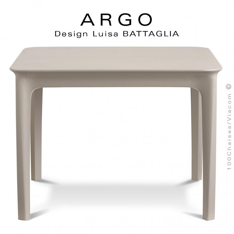 Petite table d'appoint ARGO, structure plastique couleur gris Tourterelle, pour terrasse et extérieur.