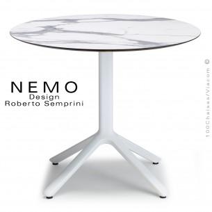Table NEMO, pour CHR., piétement aluminium peint blanc, plateau Ø80 cm., compact marbre blanc.