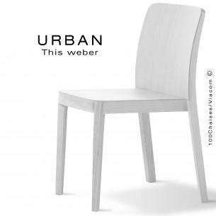 Chaise URBAN, piétement et assise en bois de frêne, peint blanc