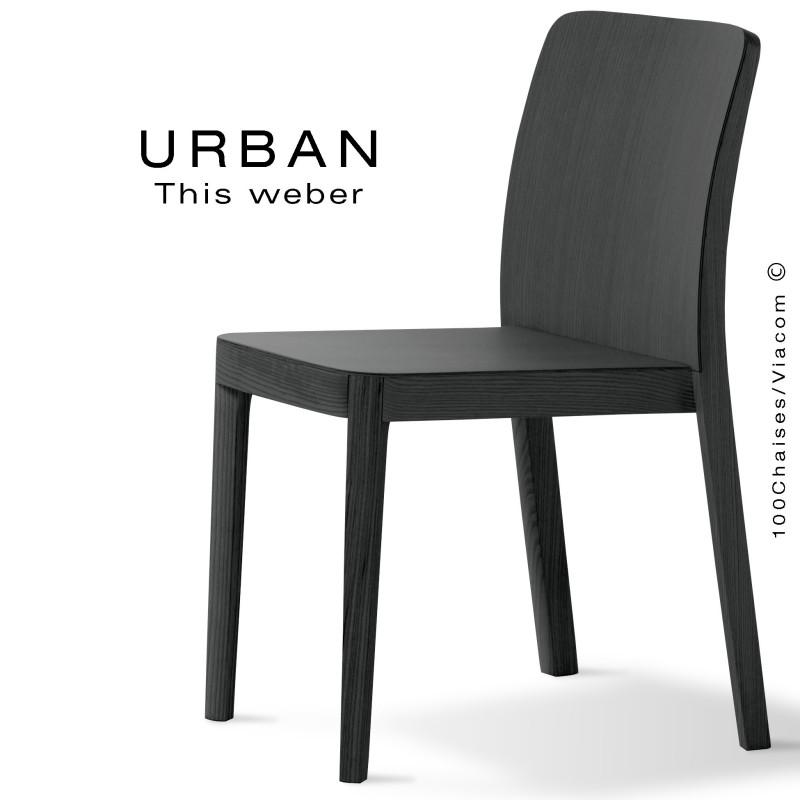 chaise urban pi tement et assise en bois de fr ne peint ou vernis. Black Bedroom Furniture Sets. Home Design Ideas