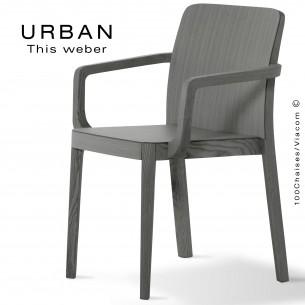 Fauteuil URBAN, piétement et assise en bois de frêne, peint gris