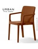 Fauteuil URBAN, piétement et assise en bois de frêne, teinté teck