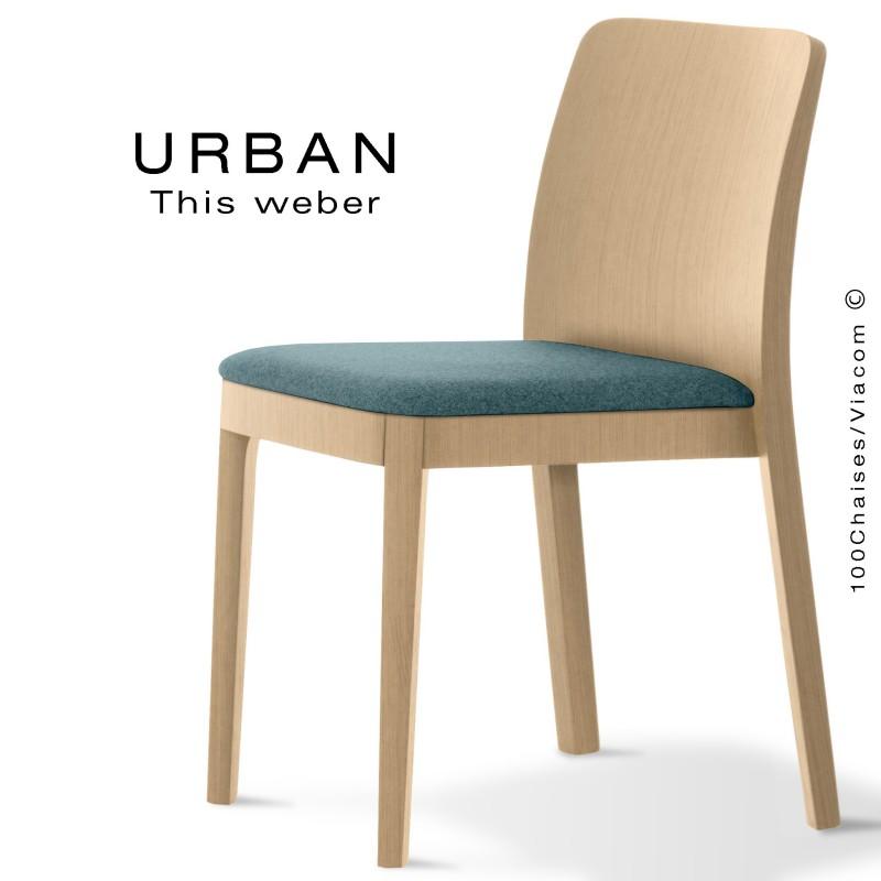Chaise URBAN, structure bois de frêne, teinté naturel, assise garnie habillage tissu bleu