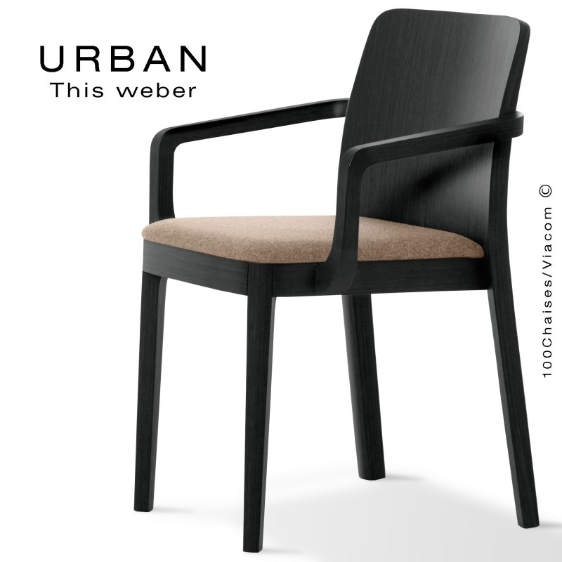 Fauteuil URBAN, structure bois de frêne, peint noir, assise garnie habillage tissu sable