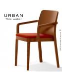 Fauteuil URBAN, structure bois de frêne, teinté teck, assise garnie habillage tissu brique