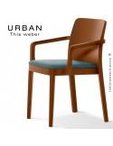Fauteuil URBAN, structure bois de frêne, teinté teck, assise garnie habillage tissu bleu