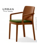 Fauteuil URBAN, structure bois de frêne, teinté teck, assise garnie habillage tissu vert