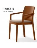 Fauteuil URBAN, structure bois de frêne, teinté teck, assise garnie habillage tissu sable