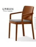 Fauteuil URBAN, structure bois de frêne, teinté teck, assise garnie habillage tissu gris