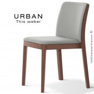 Chaise URBAN, structure bois de frêne, teinté noyer, assise et dossier garnie habillage tissu gris