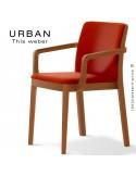 Fauteuil URBAN, structure bois de frêne, teinté teck, assise et dossier garnie habillage tissu brique