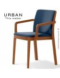 Fauteuil URBAN, structure bois de frêne, teinté teck, assise et dossier garnie habillage tissu bleu marine