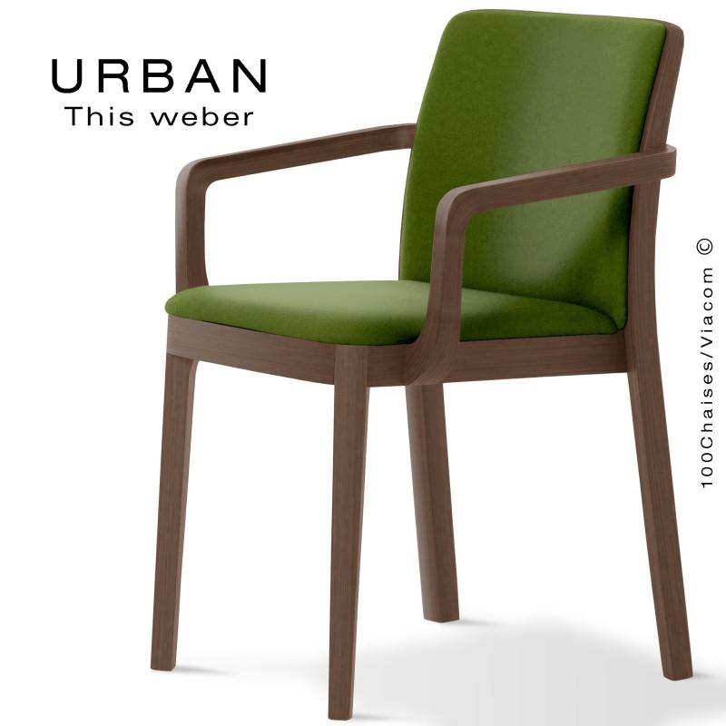 Fauteuil URBAN, structure bois de frêne, teinté wengé, assise et dossier garnie habillage tissu vert