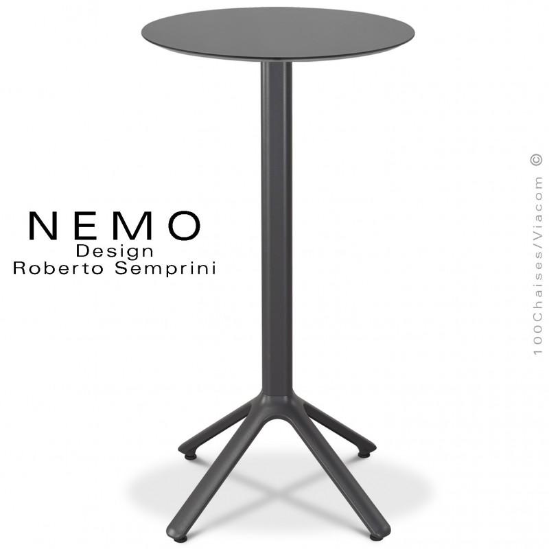 Table mange-debout NEMO, pour CHR., piétement aluminium peint anthracite, plateau fixe Ø60 cm., compact anthracite.