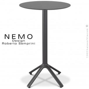 Table mange-debout NEMO, pour CHR., piétement aluminium peint anthracite, plateau fixe Ø80 cm., compact anthracite.
