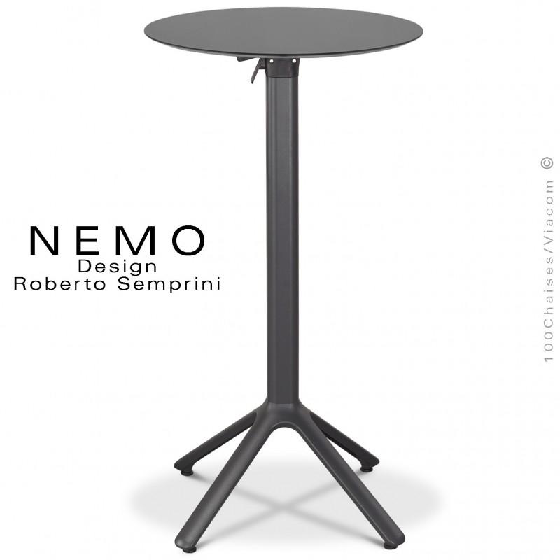 Table mange debout NEMO, piétement encastrable aluminium peint anthracite, plateau rabattable Ø60 cm., compact anthracite.