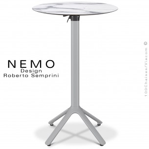 Table mange debout NEMO, piétement encastrable aluminium peint argent, plateau rabattable Ø80 cm., compact marbre blanc.