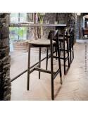 Tabouret de bar RIB, piétement et assise en bois de frêne naturel, peint ou vernis.